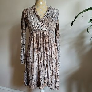 Snake Print Surplice Dress